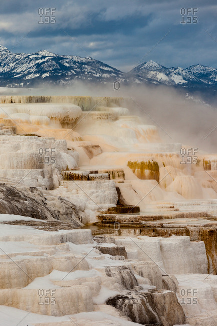 A view of the colorful travertine terraces of Canary Spring of Mammoth Hot Springs