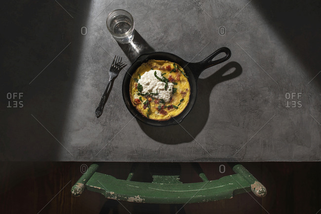 Frittata served in a cast iron skillet