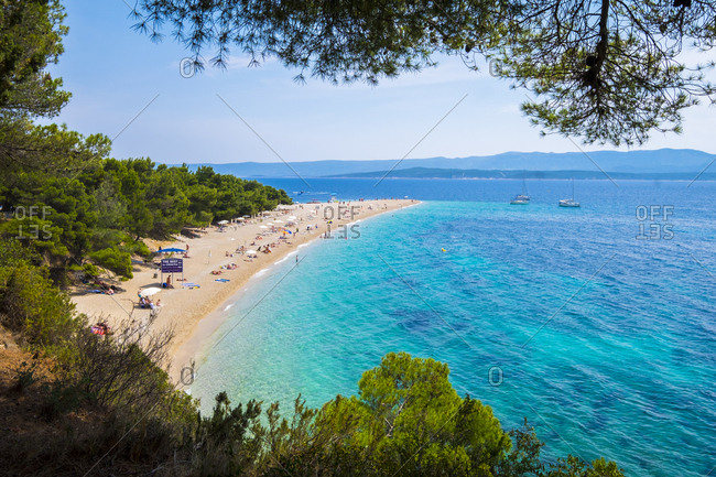 Brac, Croatia - June 3, 2017: Zlatni rat beach is the most famous in Croatia