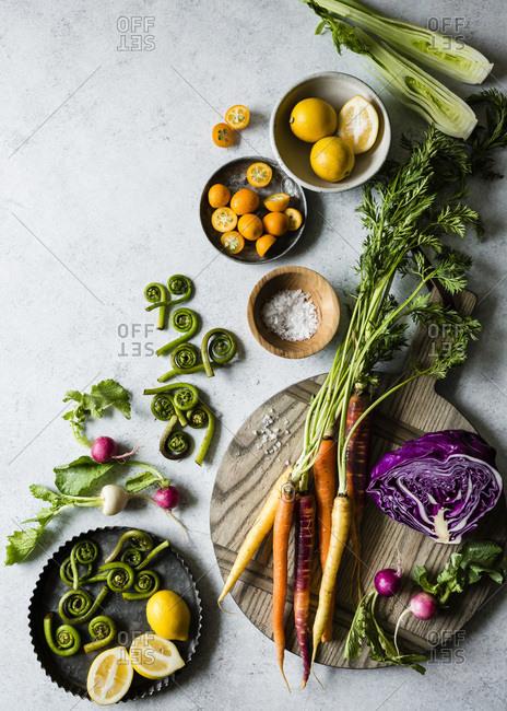 Fresh produce on a chopping board