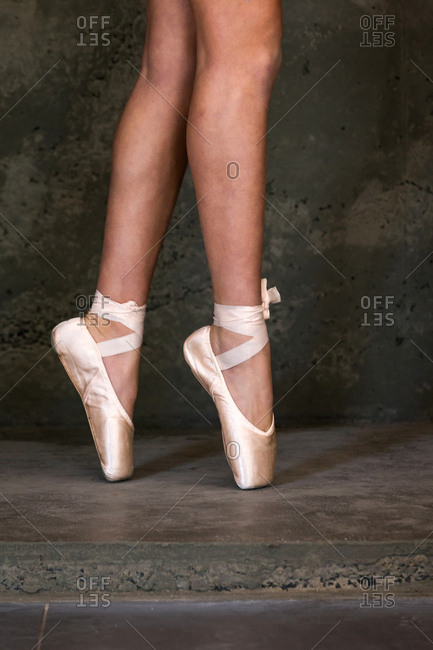Ballet dancer's feet in pointe shoes