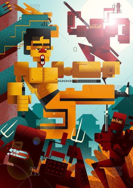 A martial artist fighting ninjas