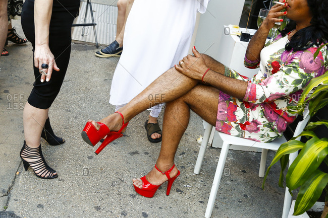 New York City - June 25, 2017: Woman with hairy legs at gay pride