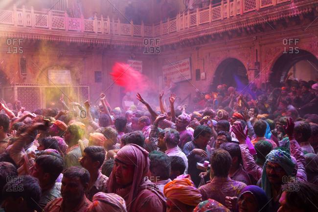 Mathura, India - March 5, 2015: Crowd at a Holi Festival