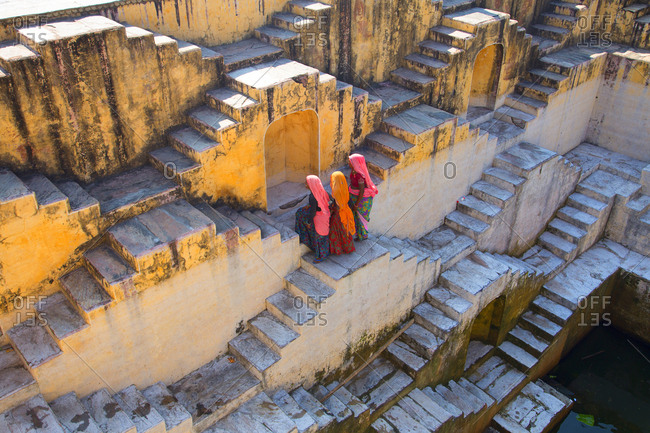 Jaipur, India - October 5, 2013: Women at step well