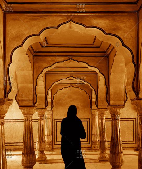Muslim woman in Amber Fort, Jaipur, India