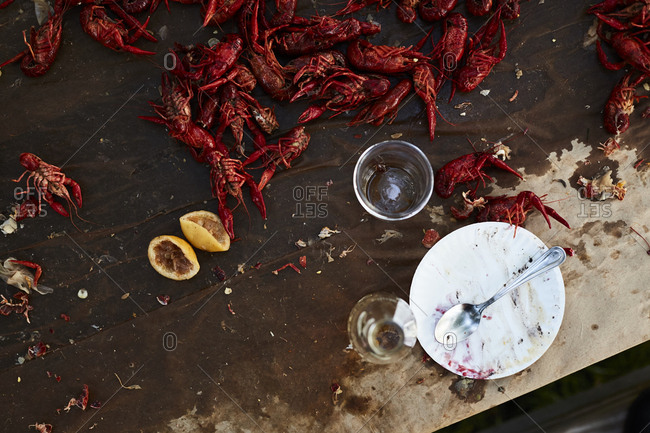 Table with crawfish at a boil
