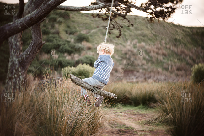Boy swinging on a coastal tree swing