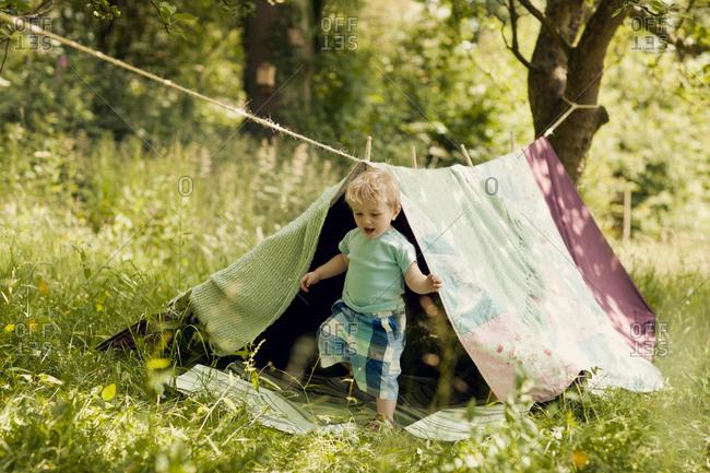 Boy in homemade tent in garden