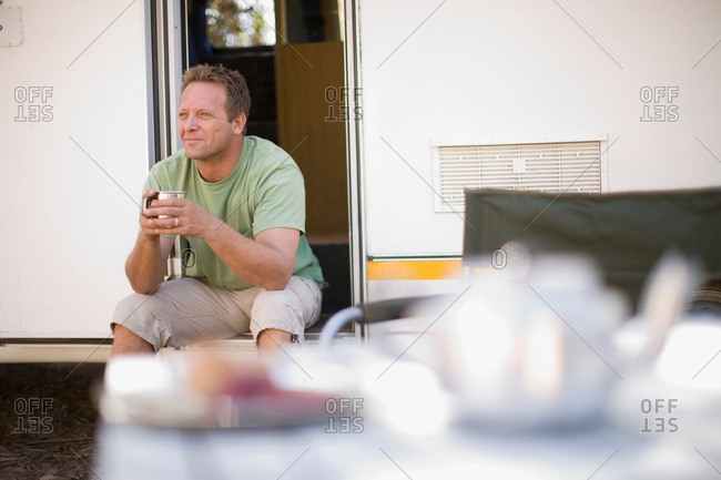 Man camping with RV