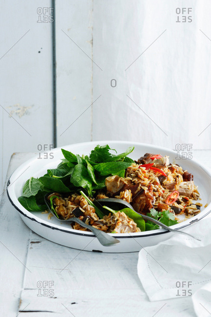 Plate of rice and herbs