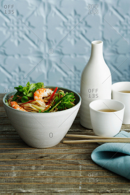 Bowl of shrimp with noodles
