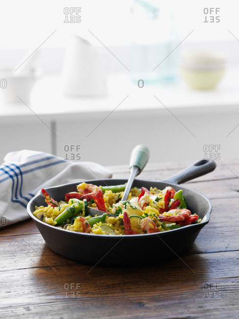 Pan of rice with vegetables