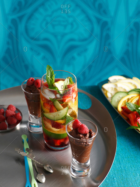 Cocktail with chocolate mousse