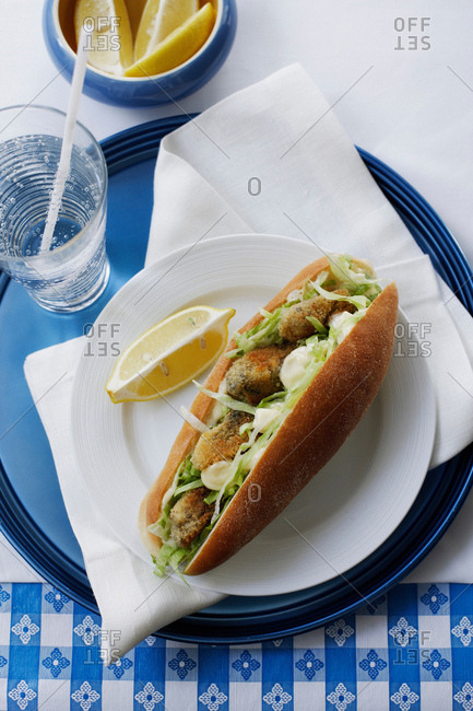 Fried fish sandwich on plate