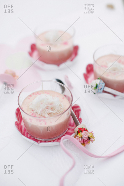 Cups of custard with coconut