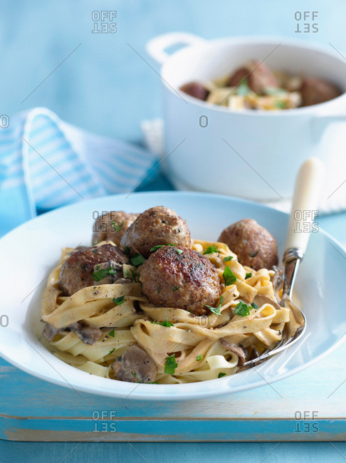 Bowl of pasta with meatballs