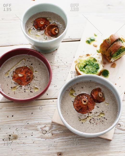 Bowls of mushroom soup