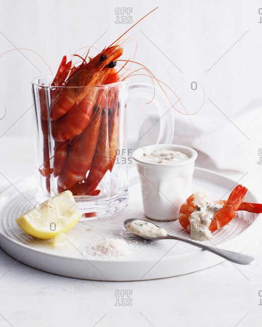 Glass of prawns with mayonnaise