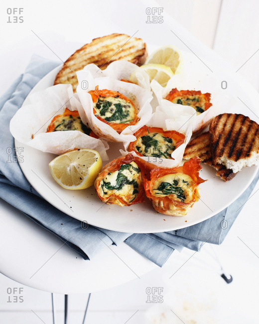 Eggs in salmon cups with toast