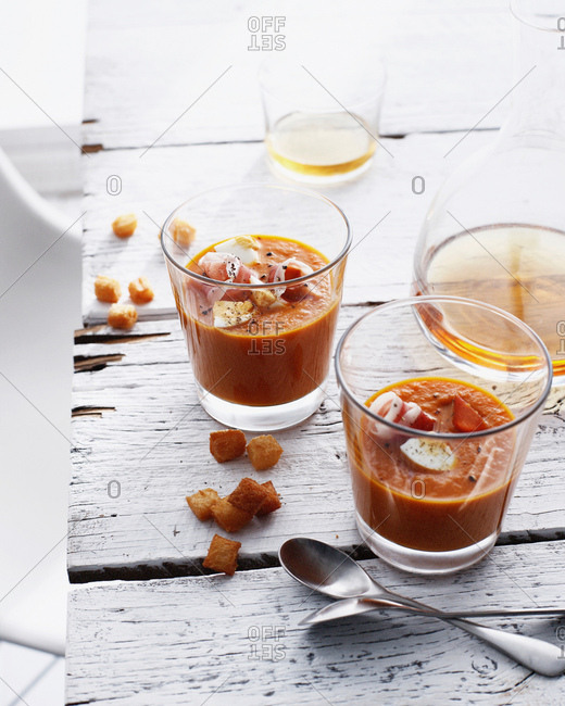 Glasses of Spanish soup with croutons