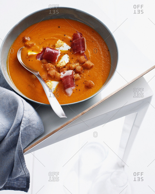 Bowl of Spanish soup with croutons