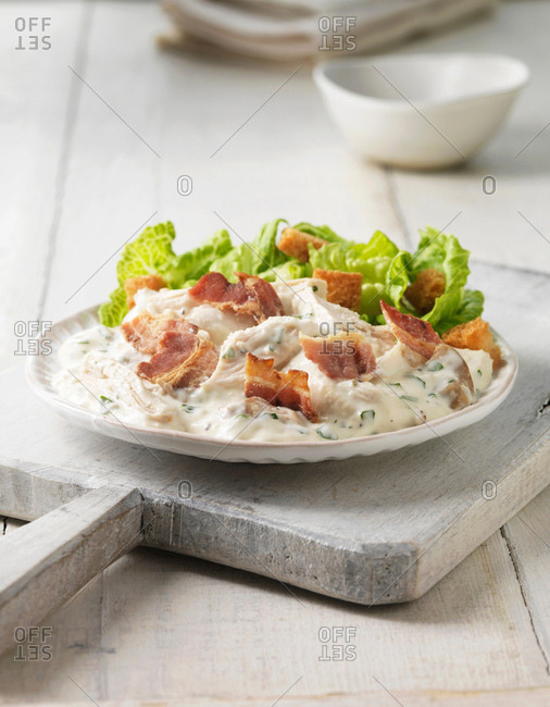Plate of chicken caesar salad