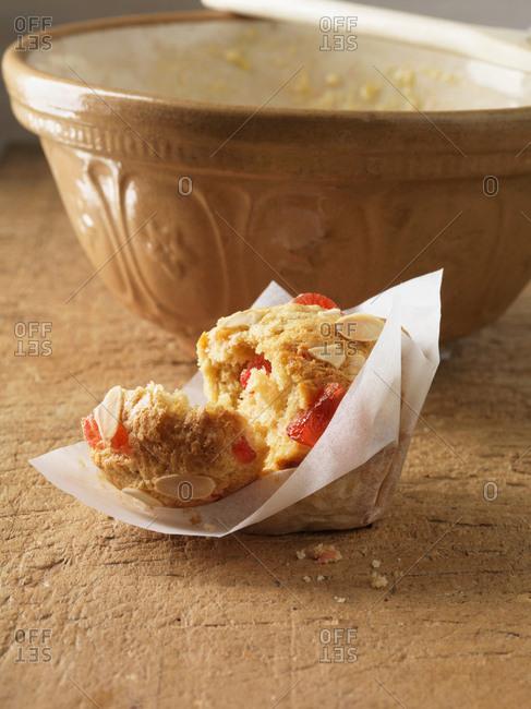 Broken cherry almond muffin