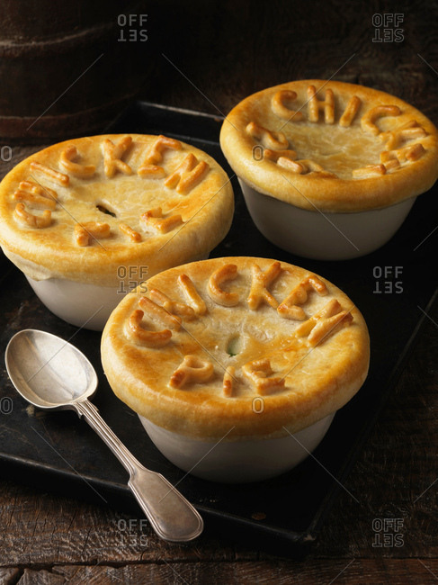 Tray of chicken pies