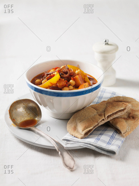 Bowl of chickpea and vegetable stew