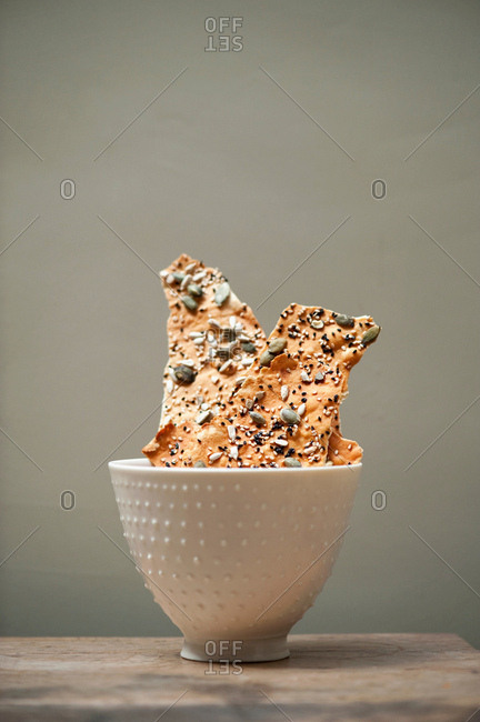 Cup of whole grain crackers