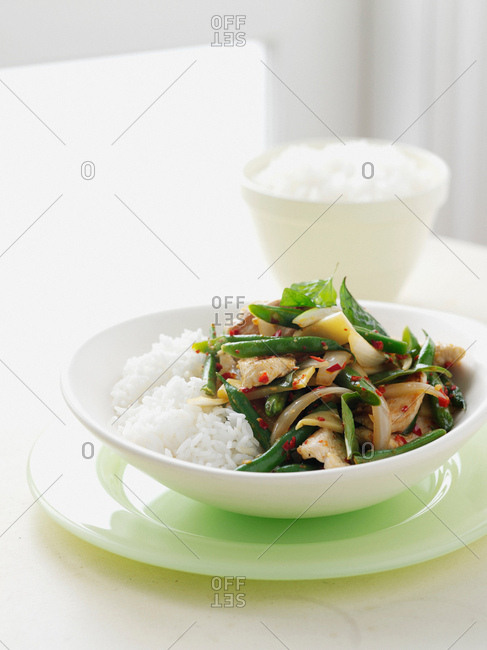 Bowl of vegetables with rice