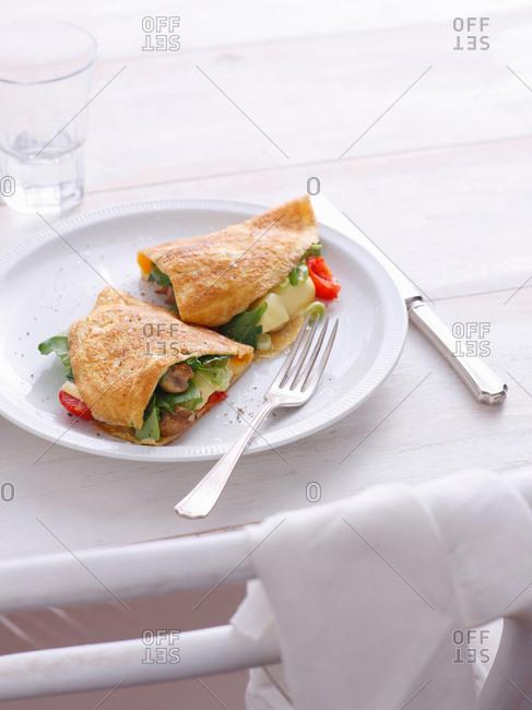 Plate of vegetable omelets