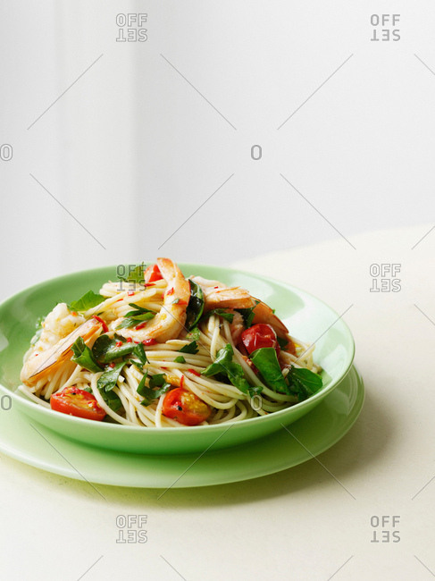 Plate of prawns and pasta