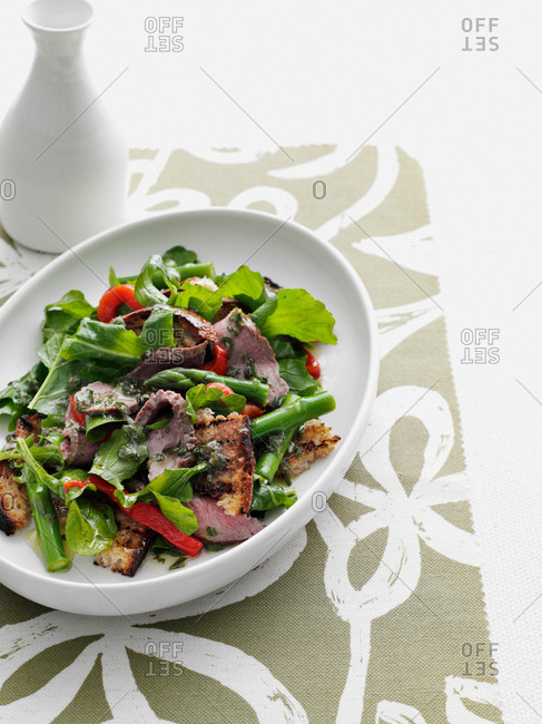 Plate of beef and salad