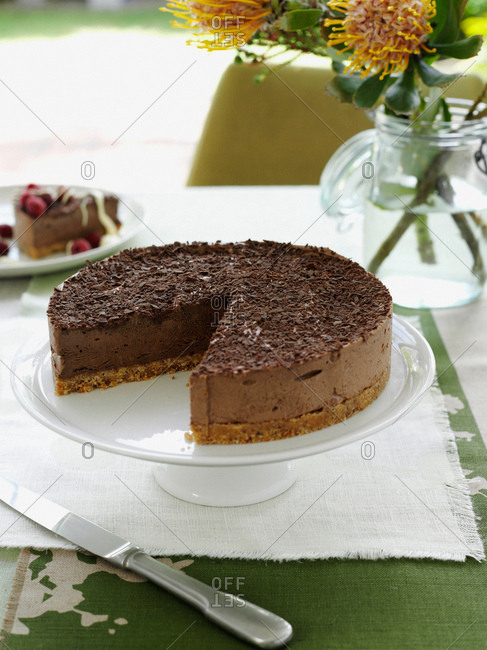 Chocolate cake on serving platter