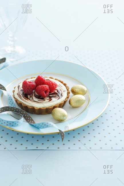 Plate of tart with berries
