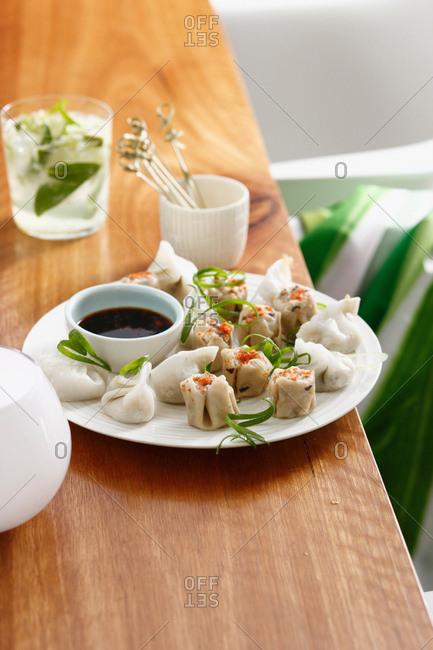 Plate of potstickers and dumplings