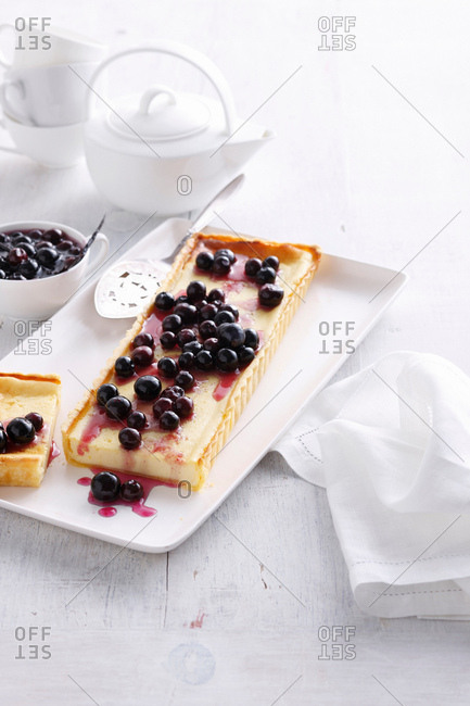 Plate of blueberry custard tart