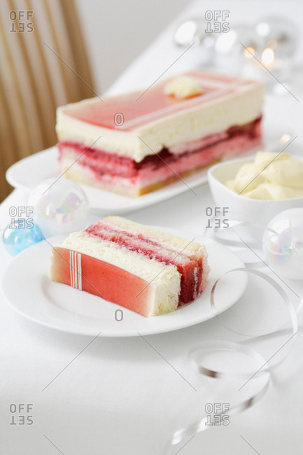 Plate of layered dessert