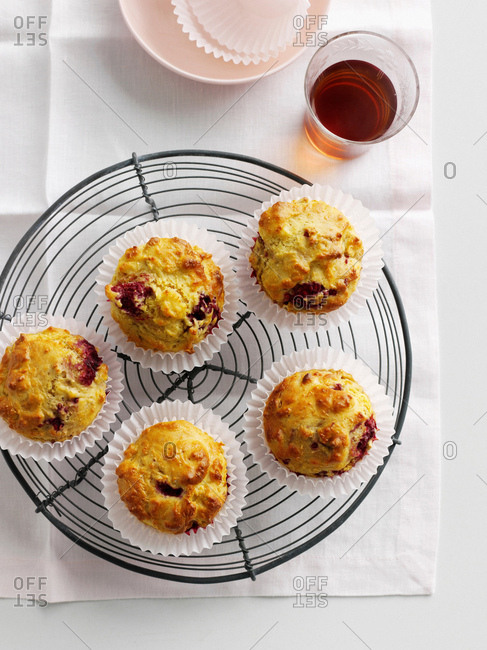 Fruit muffins on cooling rack