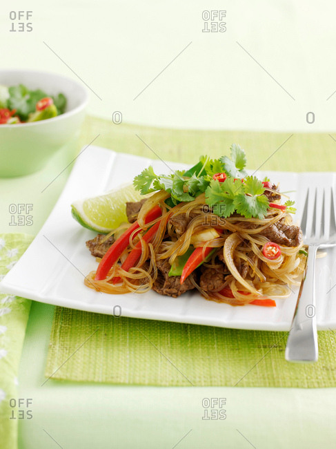 Plate of Asian beef stir fry