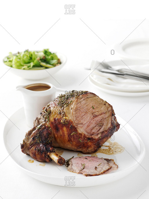 Plate of roasted lamb