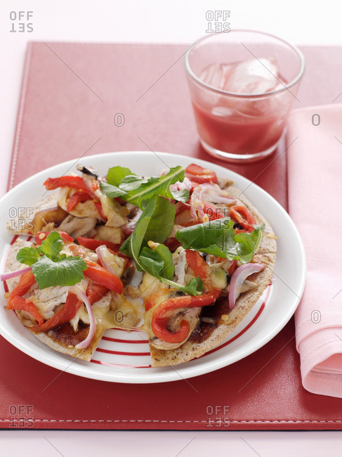 Plate of vegetable pizza