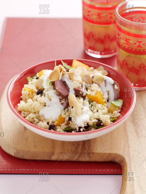 Plate of lamb with couscous