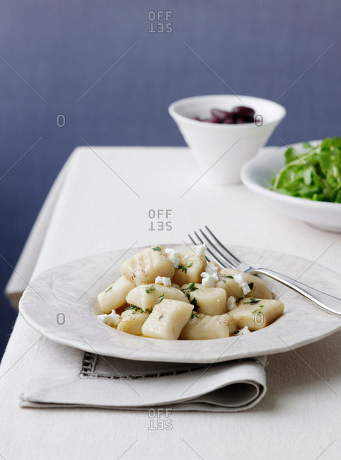 Plate of gnocchi with olives