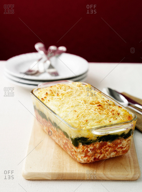 Dish of chicken, spinach and potato bake