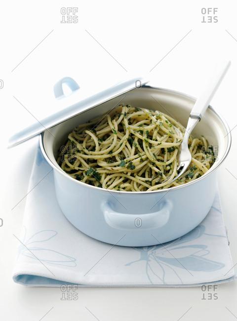 Pot of pesto pasta
