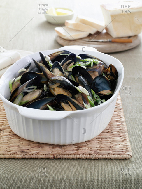 Dish of mussels and herbs