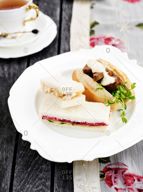 Plate of variety of sandwiches